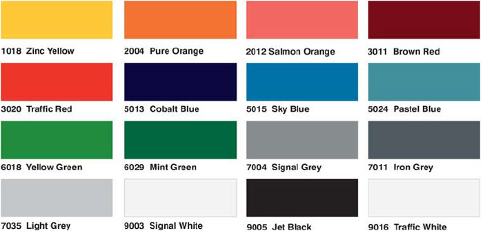 Opti White Glass Colour Chart